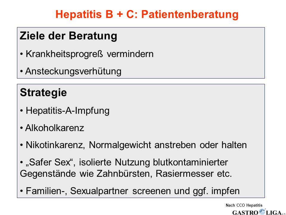 Hepatitis B + C: Patientenberatung Ziele der Beratung Krankheitsprogreß vermindern Ansteckungsverhütung Strategie Hepatitis-A-Impfung Alkoholkarenz Ni