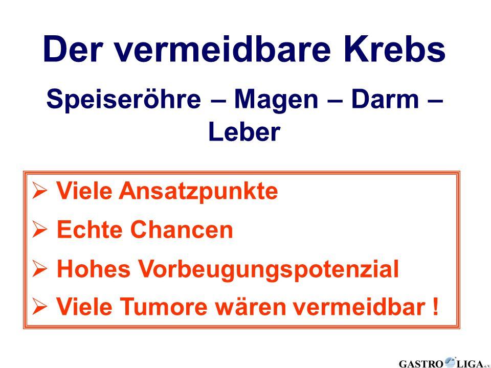 Der vermeidbare Krebs Speiseröhre – Magen – Darm – Leber  Viele Ansatzpunkte  Echte Chancen  Hohes Vorbeugungspotenzial  Viele Tumore wären vermei