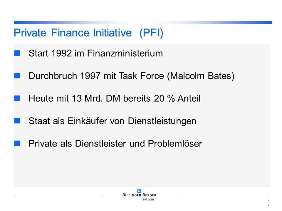 Start 1992 im Finanzministerium Durchbruch 1997 mit Task Force (Malcolm Bates) Heute mit 13 Mrd. DM bereits 20 % Anteil Staat als Einkäufer von Dienst