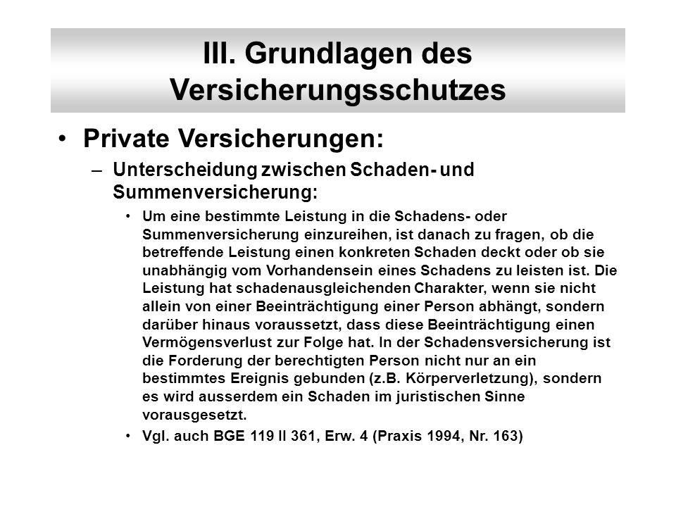 III. Grundlagen des Versicherungsschutzes Private Versicherungen: –Unterscheidung zwischen Schaden- und Summenversicherung: Um eine bestimmte Leistung