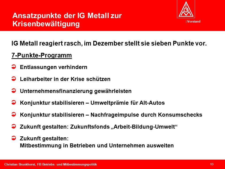 Vorstand 13 Christian Brunkhorst, FB Betriebs- und Mitbestimmungspolitik Ansatzpunkte der IG Metall zur Krisenbewältigung IG Metall reagiert rasch, im Dezember stellt sie sieben Punkte vor.