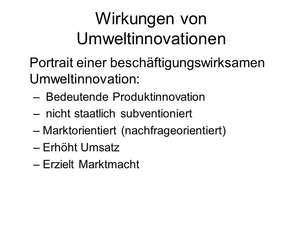 Portrait einer beschäftigungswirksamen Umweltinnovation: – Bedeutende Produktinnovation – nicht staatlich subventioniert –Marktorientiert (nachfrageorientiert) –Erhöht Umsatz –Erzielt Marktmacht