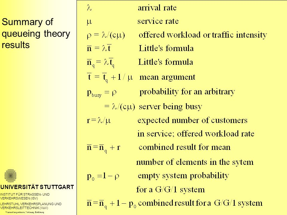 Summary of queueing theory results UNIVERSITÄT STUTTGART INSTITUT FÜR STRASSEN- UND VERKEHRSWESEN (ISV) LEHRSTUHL VERKEHRSPLANUNG UND VERKEHRSLEITTECHNIK (VuV) Warteschlangentheorie, Vorlesung, Einführung
