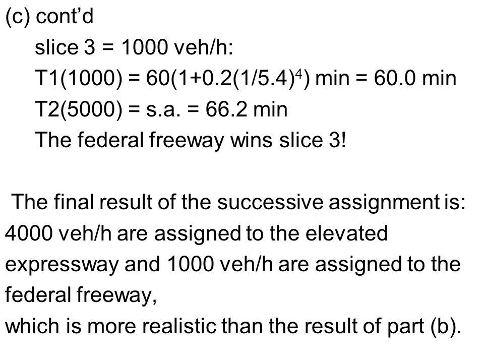 (c) cont'd slice 3 = 1000 veh/h: T1(1000) = 60(1+0.2(1/5.4) 4 ) min = 60.0 min T2(5000) = s.a.