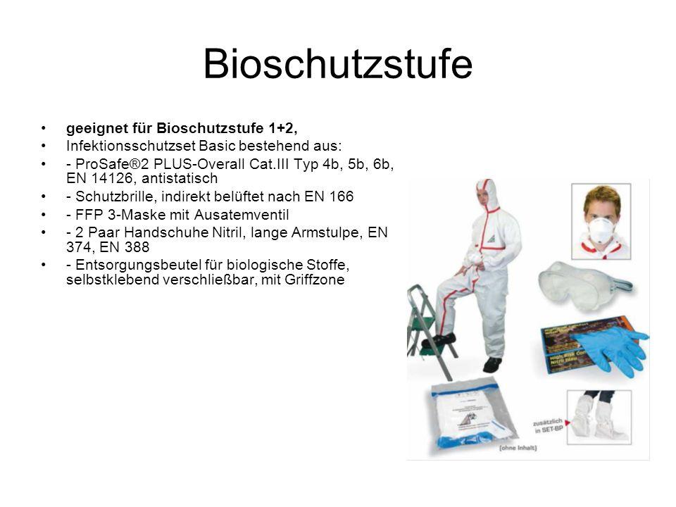 Bioschutzstufe geeignet für Bioschutzstufe 1+2, Infektionsschutzset Basic bestehend aus: - ProSafe®2 PLUS-Overall Cat.III Typ 4b, 5b, 6b, EN 14126, antistatisch - Schutzbrille, indirekt belüftet nach EN 166 - FFP 3-Maske mit Ausatemventil - 2 Paar Handschuhe Nitril, lange Armstulpe, EN 374, EN 388 - Entsorgungsbeutel für biologische Stoffe, selbstklebend verschließbar, mit Griffzone