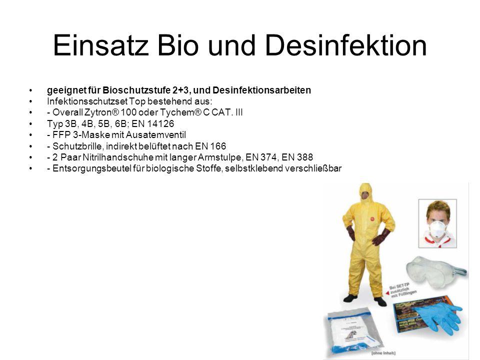 Einsatz Bio und Desinfektion geeignet für Bioschutzstufe 2+3, und Desinfektionsarbeiten Infektionsschutzset Top bestehend aus: - Overall Zytron® 100 oder Tychem® C CAT.