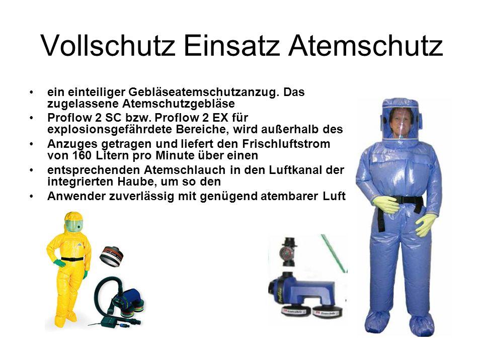 Vollschutz Einsatz Atemschutz ein einteiliger Gebläseatemschutzanzug.