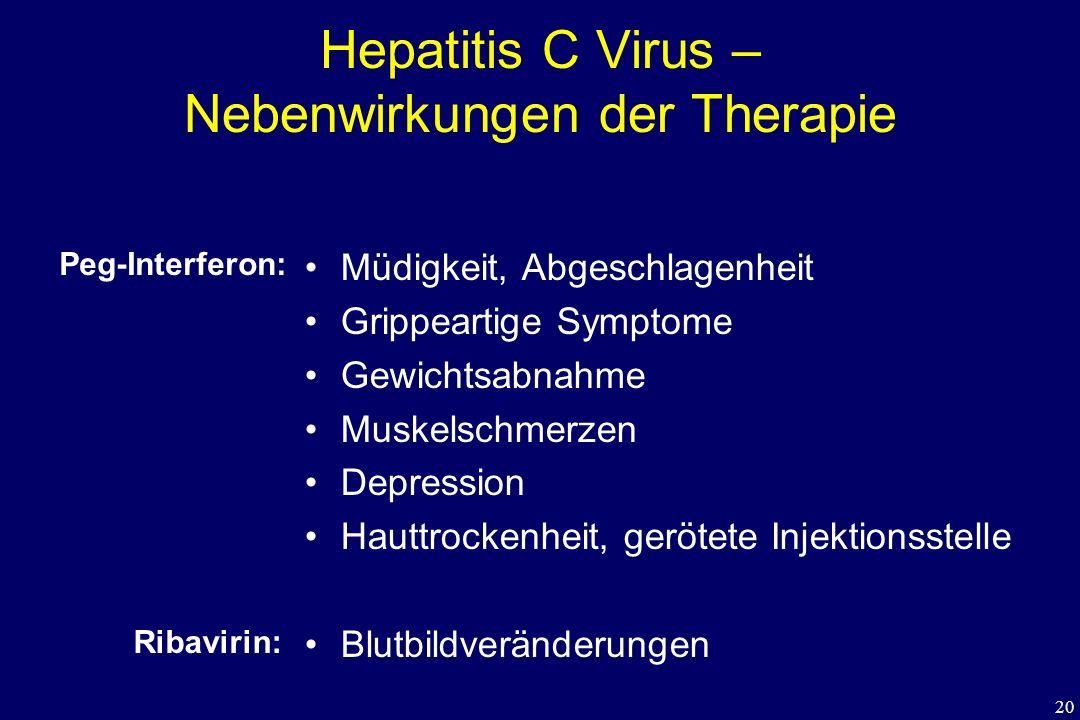 20 Hepatitis C Virus – Nebenwirkungen der Therapie Müdigkeit, Abgeschlagenheit Grippeartige Symptome Gewichtsabnahme Muskelschmerzen Depression Hauttr