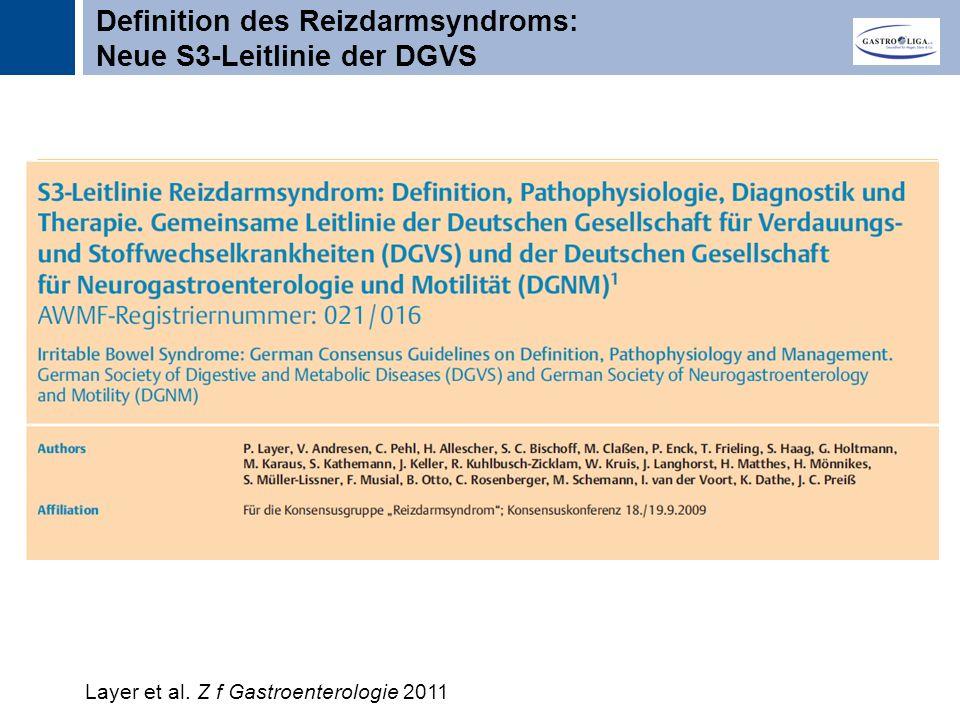 Titel Definition des Reizdarmsyndroms: Neue S3-Leitlinie der DGVS Layer et al.