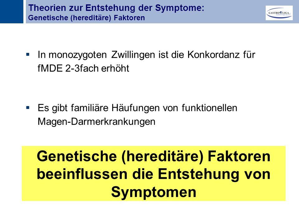 Titel  In monozygoten Zwillingen ist die Konkordanz für fMDE 2-3fach erhöht  Es gibt familiäre Häufungen von funktionellen Magen-Darmerkrankungen Genetische (hereditäre) Faktoren beeinflussen die Entstehung von Symptomen Theorien zur Entstehung der Symptome: Genetische (hereditäre) Faktoren