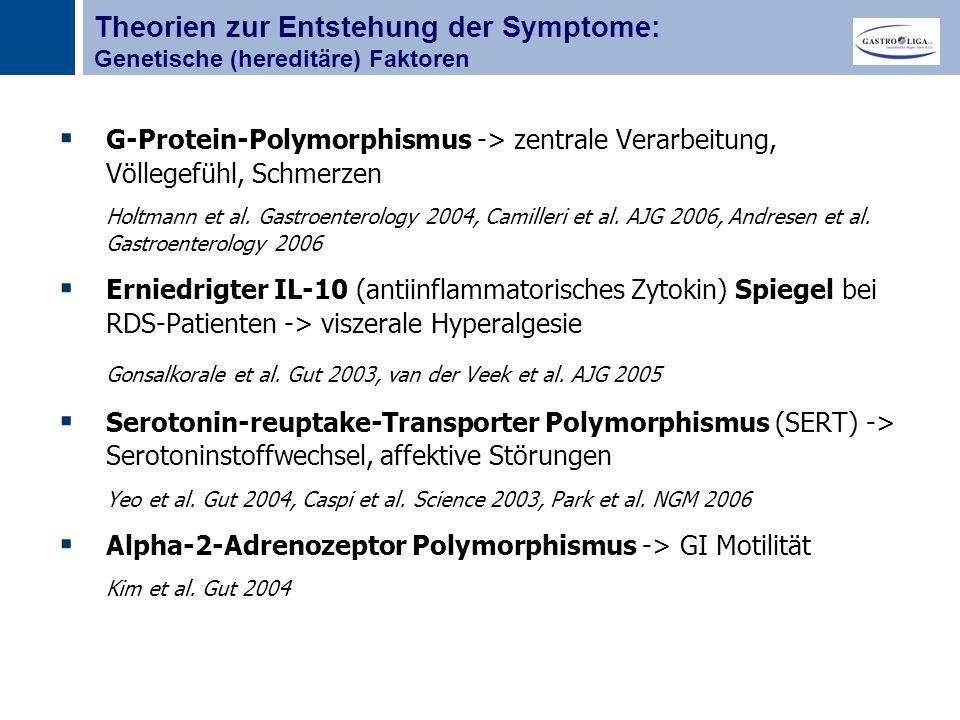 Titel  G-Protein-Polymorphismus -> zentrale Verarbeitung, Völlegefühl, Schmerzen Holtmann et al.