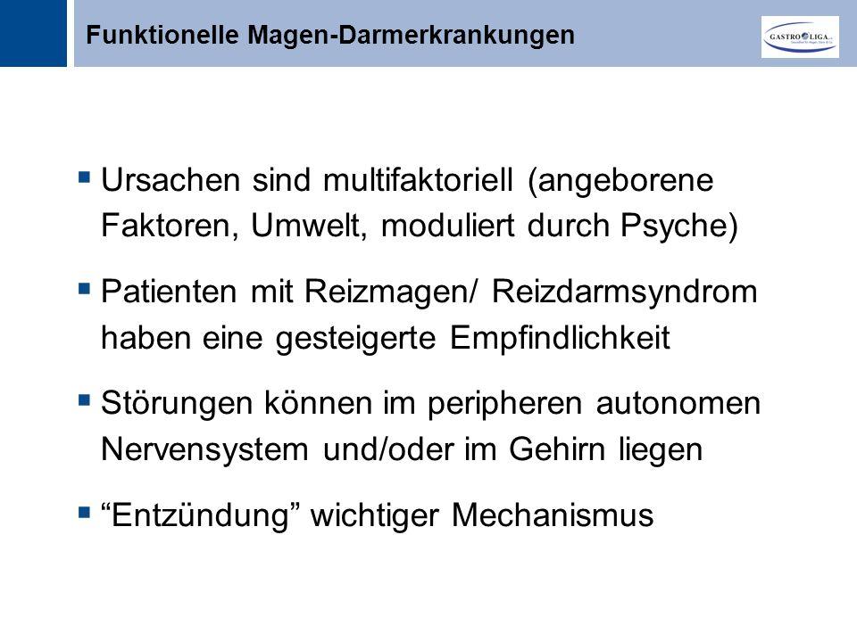 Titel  Ursachen sind multifaktoriell (angeborene Faktoren, Umwelt, moduliert durch Psyche)  Patienten mit Reizmagen/ Reizdarmsyndrom haben eine gesteigerte Empfindlichkeit  Störungen können im peripheren autonomen Nervensystem und/oder im Gehirn liegen  Entzündung wichtiger Mechanismus Funktionelle Magen-Darmerkrankungen