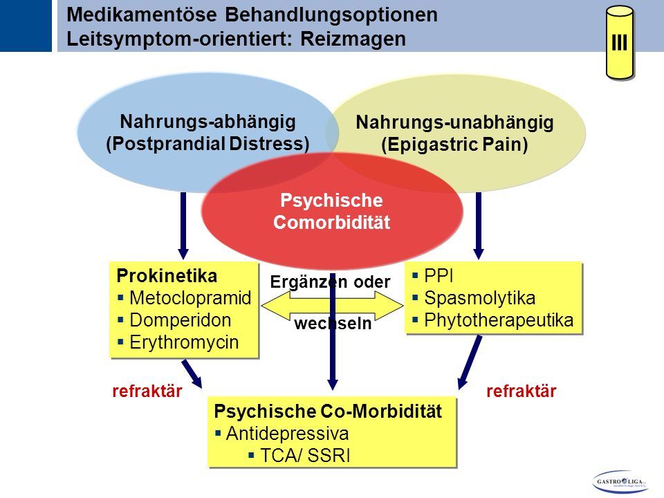 Titel Nahrungs-unabhängig (Epigastric Pain) Nahrungs-abhängig (Postprandial Distress) Psychische Comorbidität  PPI  Spasmolytika  Phytotherapeutika  PPI  Spasmolytika  Phytotherapeutika Psychische Co-Morbidität  Antidepressiva  TCA/ SSRI Psychische Co-Morbidität  Antidepressiva  TCA/ SSRI Prokinetika  Metoclopramid  Domperidon  Erythromycin Prokinetika  Metoclopramid  Domperidon  Erythromycin refraktär Ergänzen oder wechseln refraktär Medikamentöse Behandlungsoptionen Leitsymptom-orientiert: Reizmagen III