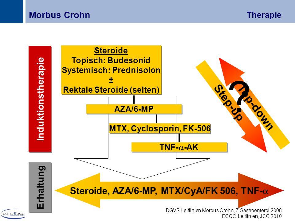 Titel Erhaltung Induktionstherapie Steroide, AZA/6-MP, MTX/CyA/FK 506, TNF-  Steroide Topisch: Budesonid Systemisch: Prednisolon ± Rektale Steroide (selten) Steroide Topisch: Budesonid Systemisch: Prednisolon ± Rektale Steroide (selten) MTX, Cyclosporin, FK-506 TNF-  -AK AZA/6-MP Morbus Crohn Therapie Top-down Step-up .