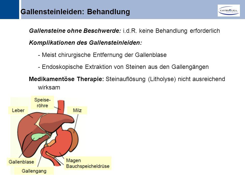 Titel Gallensteinleiden: Behandlung Gallensteine ohne Beschwerde: i.d.R.