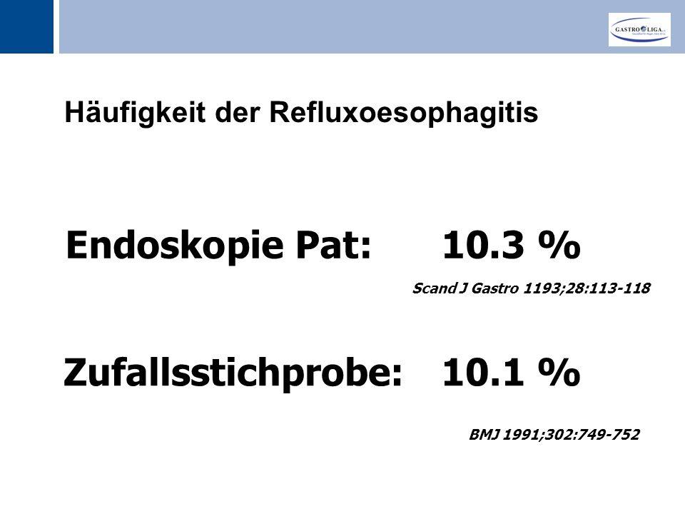 Titel Häufigkeit der Refluxoesophagitis Scand J Gastro 1193;28:113-118 BMJ 1991;302:749-752 Zufallsstichprobe: 10.1 % Endoskopie Pat: 10.3 %