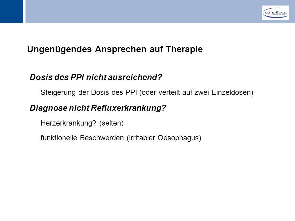 Titel Ungenügendes Ansprechen auf Therapie Dosis des PPI nicht ausreichend.