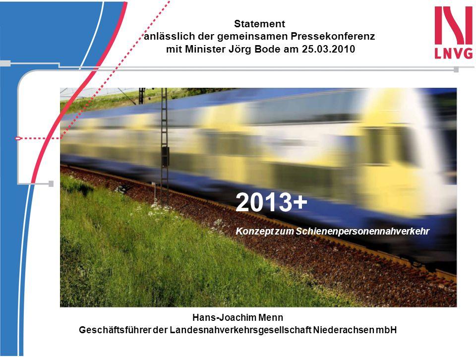 2013+ Statement anlässlich der gemeinsamen Pressekonferenz mit Minister Jörg Bode am 25.03.2010 Hans-Joachim Menn Geschäftsführer der Landesnahverkehr