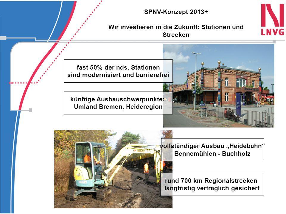 Vielen Dank für Ihre Aufmerksamkeit Regionalkonferenzen 22.04.2010Oldenburg 27.04.2010Lüneburg 29.04.2010Meppen 06.05.2010Hildesheim SPNV-Konzept 2013+ Wir sind auf dem Weg: Präsentation vor Ort