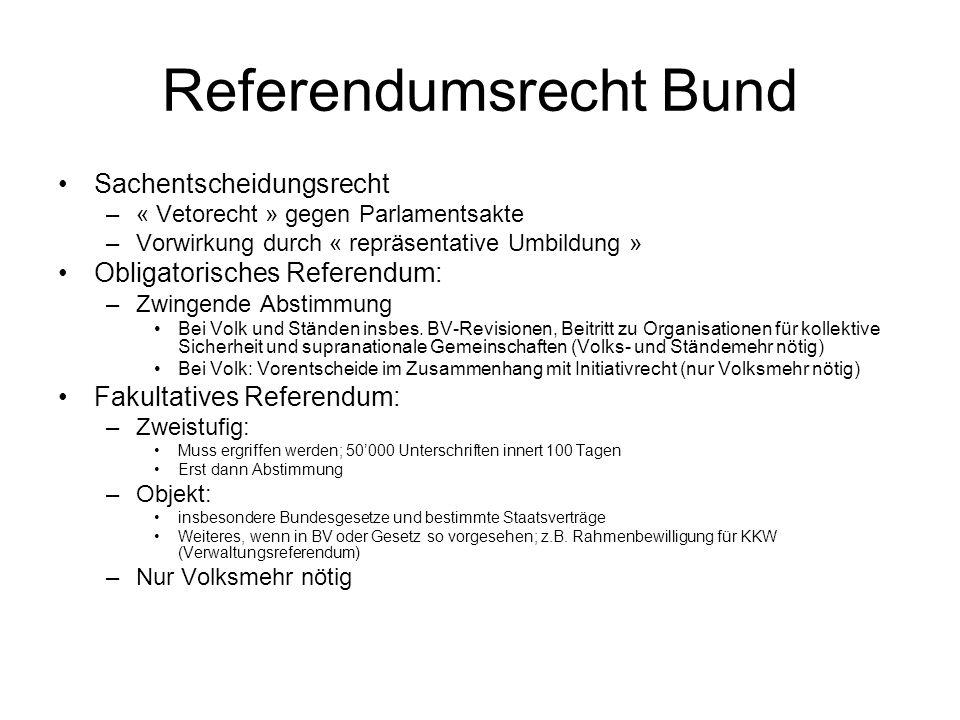 Referendumsrecht Bund Sachentscheidungsrecht –« Vetorecht » gegen Parlamentsakte –Vorwirkung durch « repräsentative Umbildung » Obligatorisches Referendum: –Zwingende Abstimmung Bei Volk und Ständen insbes.