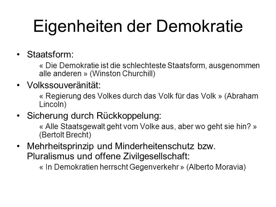 Eigenheiten der Demokratie Staatsform: « Die Demokratie ist die schlechteste Staatsform, ausgenommen alle anderen » (Winston Churchill) Volkssouveräni