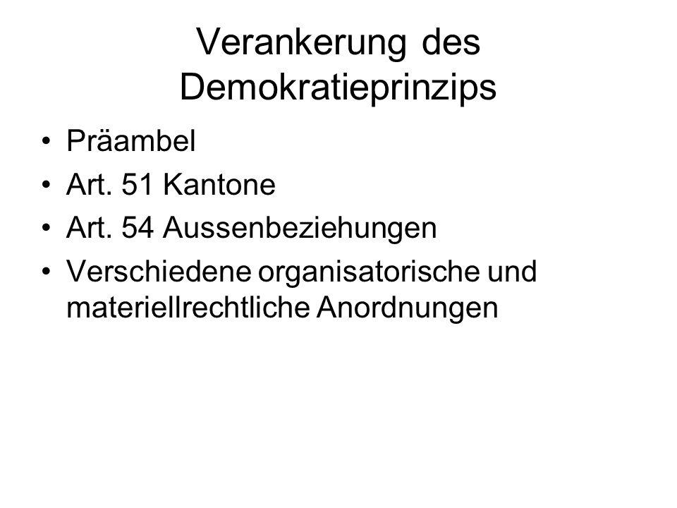 Verankerung des Demokratieprinzips Präambel Art. 51 Kantone Art. 54 Aussenbeziehungen Verschiedene organisatorische und materiellrechtliche Anordnunge