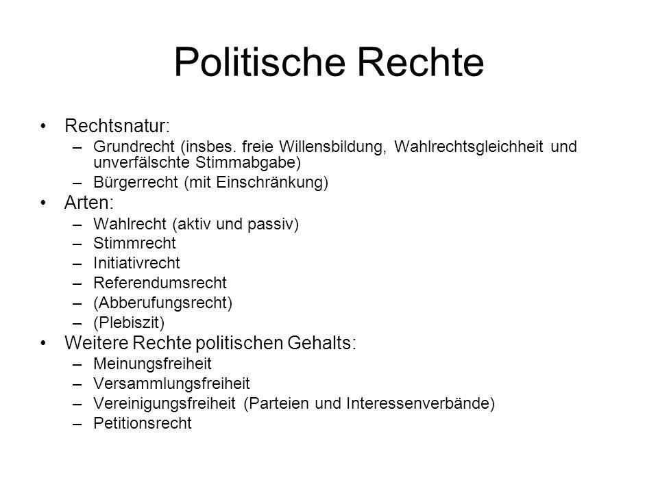 Politische Rechte Rechtsnatur: –Grundrecht (insbes.