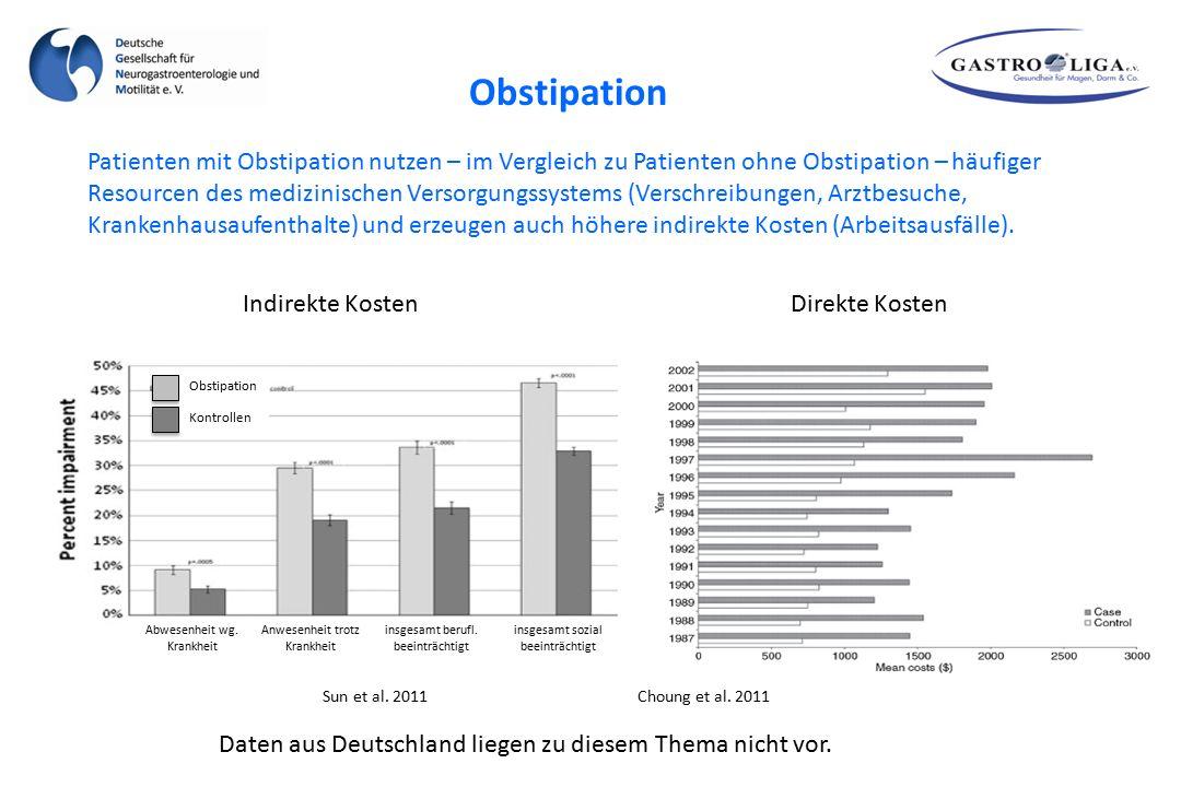 Patienten mit Obstipation nutzen – im Vergleich zu Patienten ohne Obstipation – häufiger Resourcen des medizinischen Versorgungssystems (Verschreibung