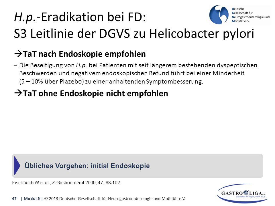 H.p.-Eradikation bei FD: S3 Leitlinie der DGVS zu Helicobacter pylori  TaT nach Endoskopie empfohlen –Die Beseitigung von H.p.