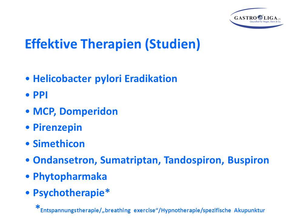 """Effektive Therapien (Studien) Helicobacter pylori Eradikation PPI MCP, Domperidon Pirenzepin Simethicon Ondansetron, Sumatriptan, Tandospiron, Buspiron Phytopharmaka Psychotherapie* * Entspannungstherapie/""""breathing exercise /Hypnotherapie/spezifische Akupunktur"""
