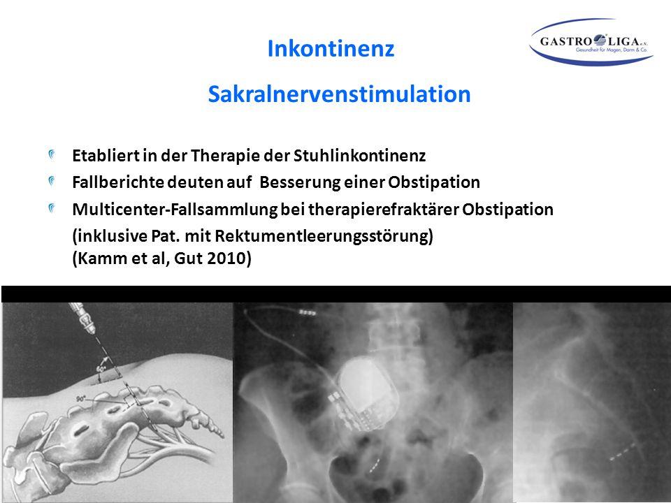 Sakralnervenstimulation Etabliert in der Therapie der Stuhlinkontinenz Fallberichte deuten auf Besserung einer Obstipation Multicenter-Fallsammlung be