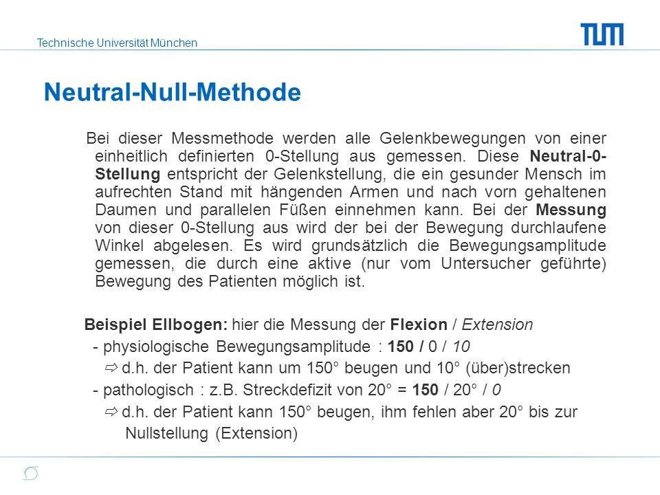 Technische Universität München Neutral-Null-Methode Bei dieser Messmethode werden alle Gelenkbewegungen von einer einheitlich definierten 0-Stellung a