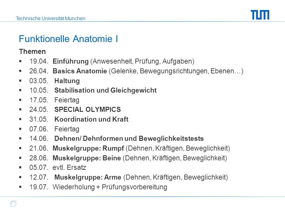 Technische Universität München Themen  19.04. Einführung (Anwesenheit, Prüfung, Aufgaben)  26.04.Basics Anatomie (Gelenke, Bewegungsrichtungen, Eben