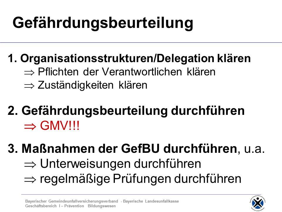 Bayerischer Gemeindeunfallversicherungsverband - Bayerische Landesunfallkasse Geschäftsbereich I – Prävention Bildungswesen Gefährdungsbeurteilung 1.