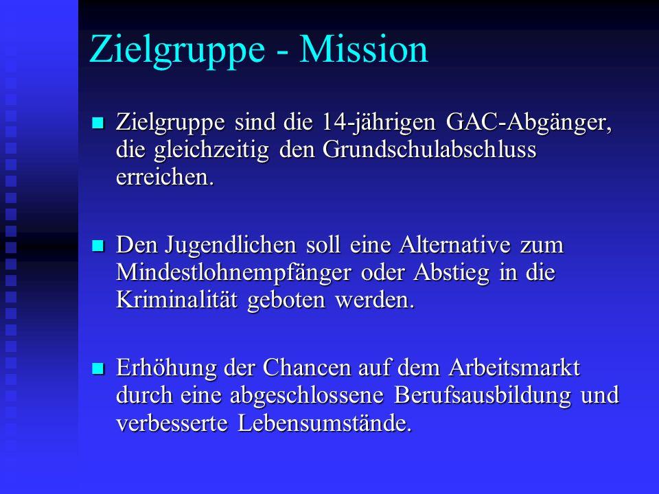 Zielgruppe - Mission Zielgruppe sind die 14-jährigen GAC-Abgänger, die gleichzeitig den Grundschulabschluss erreichen.