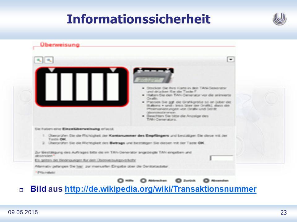 09.05.2015 23 Informationssicherheit r Bild aus http://de.wikipedia.org/wiki/Transaktionsnummerhttp://de.wikipedia.org/wiki/Transaktionsnummer