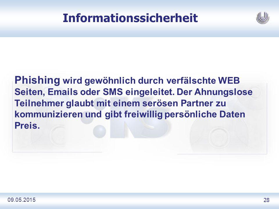09.05.2015 28 Informationssicherheit Phishing wird gewöhnlich durch verfälschte WEB Seiten, Emails oder SMS eingeleitet.