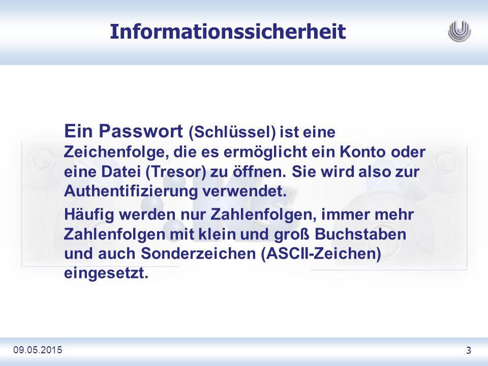 09.05.2015 34 Informationssicherheit Als Spams 1 bezeichnet man elektronische Mitteilungen, die einem unerwünscht und unaufgefordert zugestellt werden.