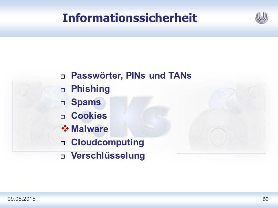 09.05.2015 60 Informationssicherheit r Passwörter, PINs und TANs r Phishing r Spams r Cookies  Malware r Cloudcomputing r Verschlüsselung