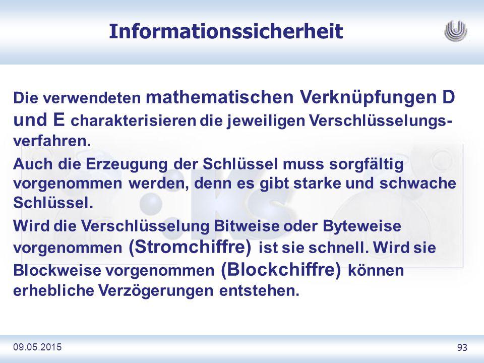 09.05.2015 93 Informationssicherheit Die verwendeten mathematischen Verknüpfungen D und E charakterisieren die jeweiligen Verschlüsselungs- verfahren.