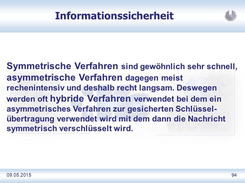 09.05.2015 94 Informationssicherheit Symmetrische Verfahren sind gewöhnlich sehr schnell, asymmetrische Verfahren dagegen meist rechenintensiv und deshalb recht langsam.