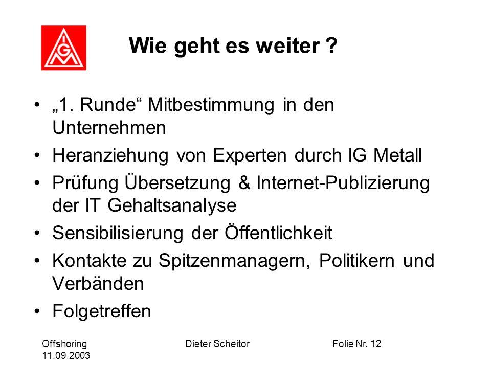 Offshoring 11.09.2003 Dieter ScheitorFolie Nr. 12 Wie geht es weiter .