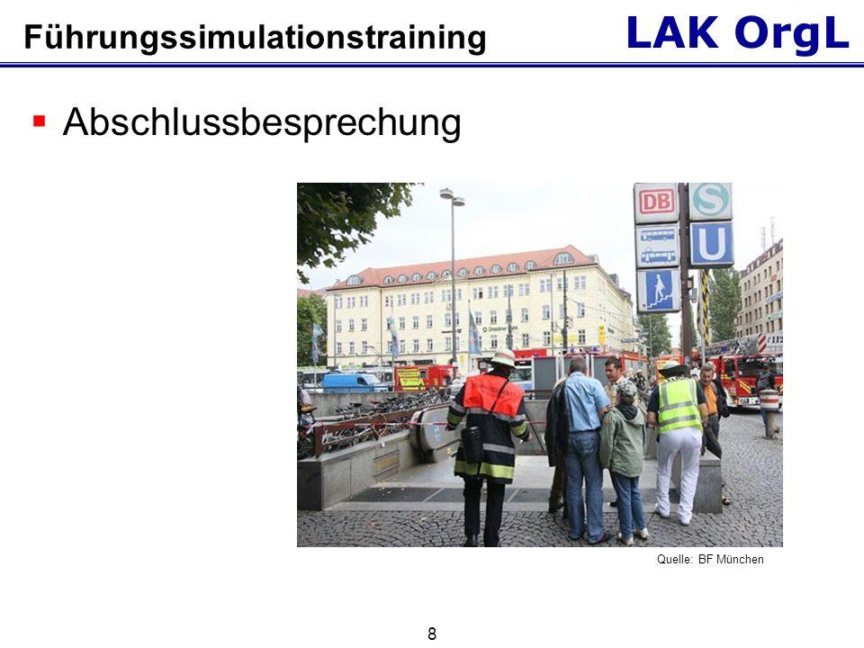 LAK OrgL 8 Führungssimulationstraining  Abschlussbesprechung Quelle: BF München