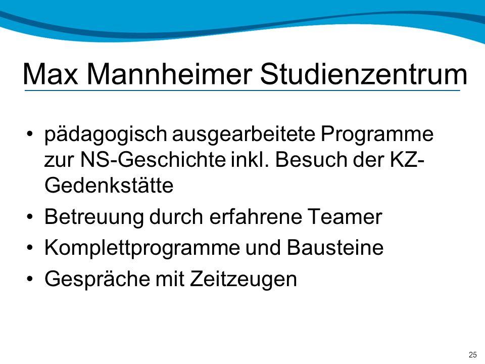 Max Mannheimer Studienzentrum pädagogisch ausgearbeitete Programme zur NS-Geschichte inkl.