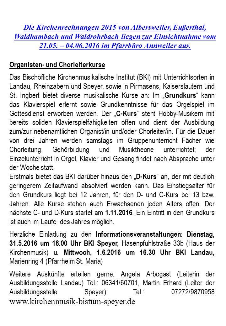 Die Kirchenrechnungen 2015 von Albersweiler, Eußerthal, Waldhambach und Waldrohrbach liegen zur Einsichtnahme vom 21.05.
