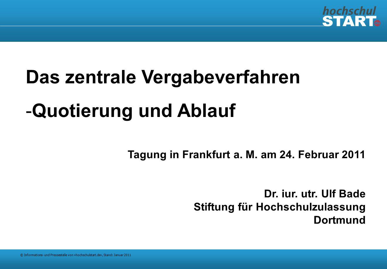 © Informations- und Pressestelle von »hochschulstart.de«, Stand: Januar 2011 Das zentrale Vergabeverfahren -Quotierung und Ablauf Tagung in Frankfurt a.