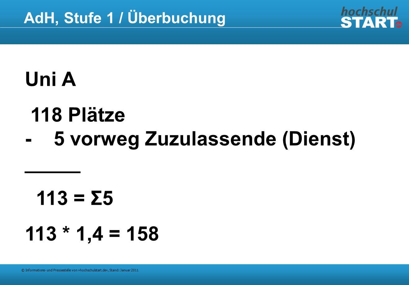 © Informations- und Pressestelle von »hochschulstart.de«, Stand: Januar 2011 AdH, Stufe 1 / Überbuchung Uni A 118 Plätze - 5 vorweg Zuzulassende (Dienst) _____ 113 = Σ5 113 * 1,4 = 158