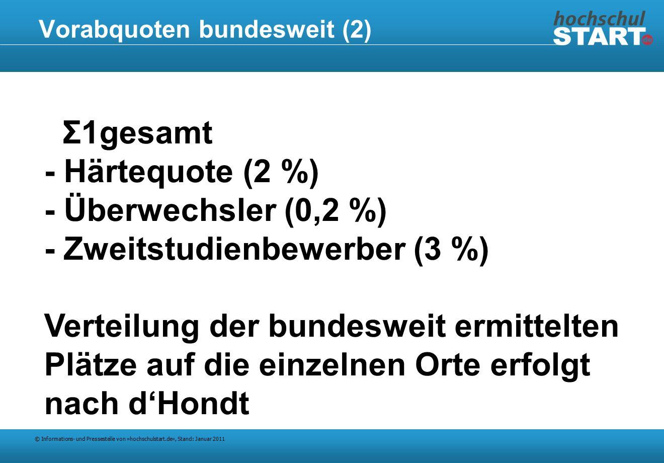 © Informations- und Pressestelle von »hochschulstart.de«, Stand: Januar 2011 Vorabquoten bundesweit (2) Σ1gesamt - Härtequote (2 %) - Überwechsler (0,2 %) - Zweitstudienbewerber (3 %) Verteilung der bundesweit ermittelten Plätze auf die einzelnen Orte erfolgt nach d'Hondt