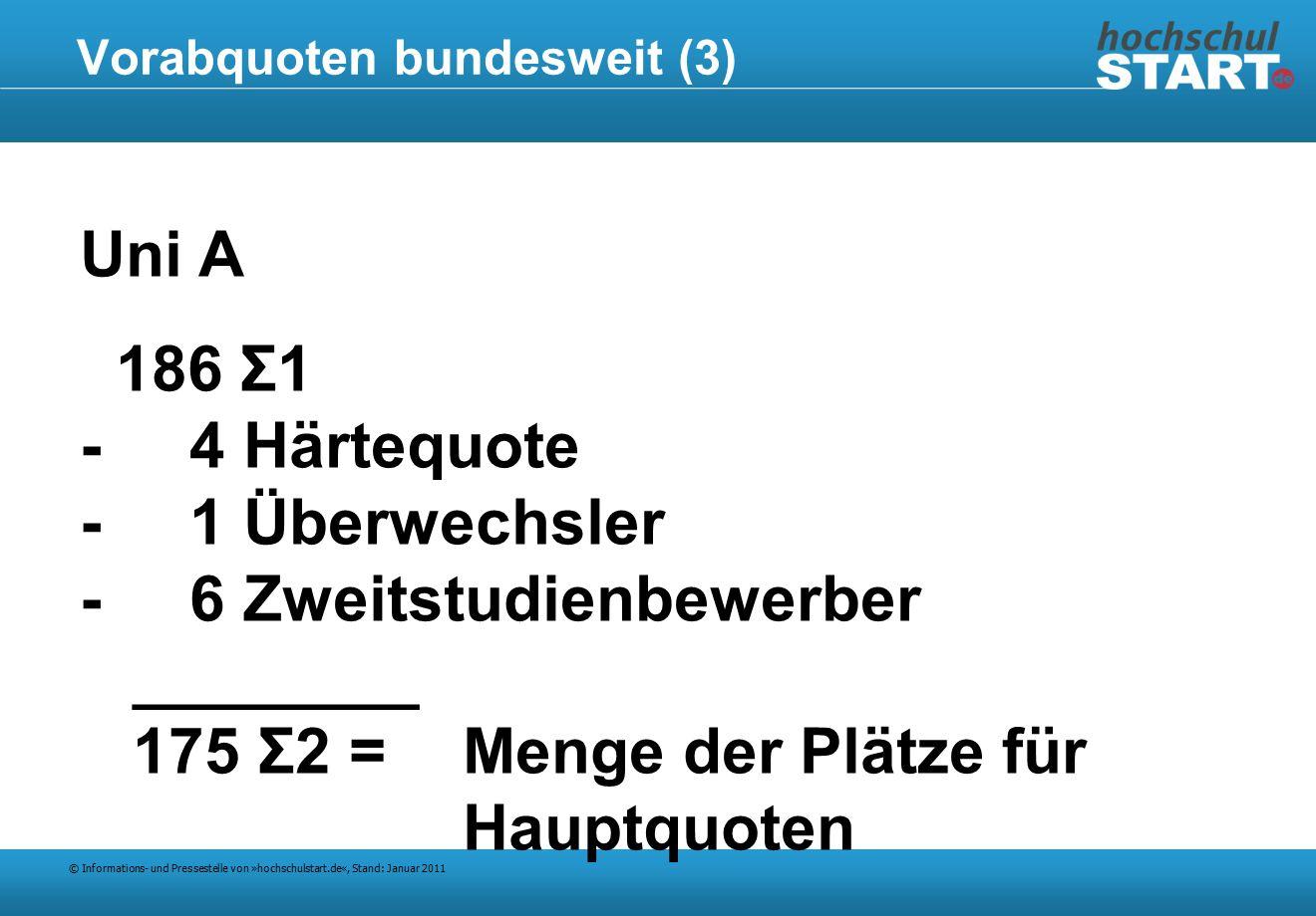 © Informations- und Pressestelle von »hochschulstart.de«, Stand: Januar 2011 Vorabquoten bundesweit (3) Uni A 186 Σ1 - 4 Härtequote - 1 Überwechsler - 6 Zweitstudienbewerber ________ 175 Σ2 =Menge der Plätze für Hauptquoten