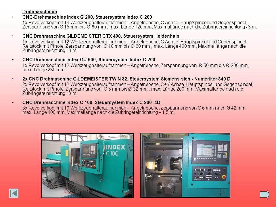 Drehmaschinen CNC-Drehmaschine Index G 200, Steuersystem Index C 200 1x Revolverkopf mit 14 Werkzeughalteraufnahmen – Angetriebene, C Achse, Hauptspin